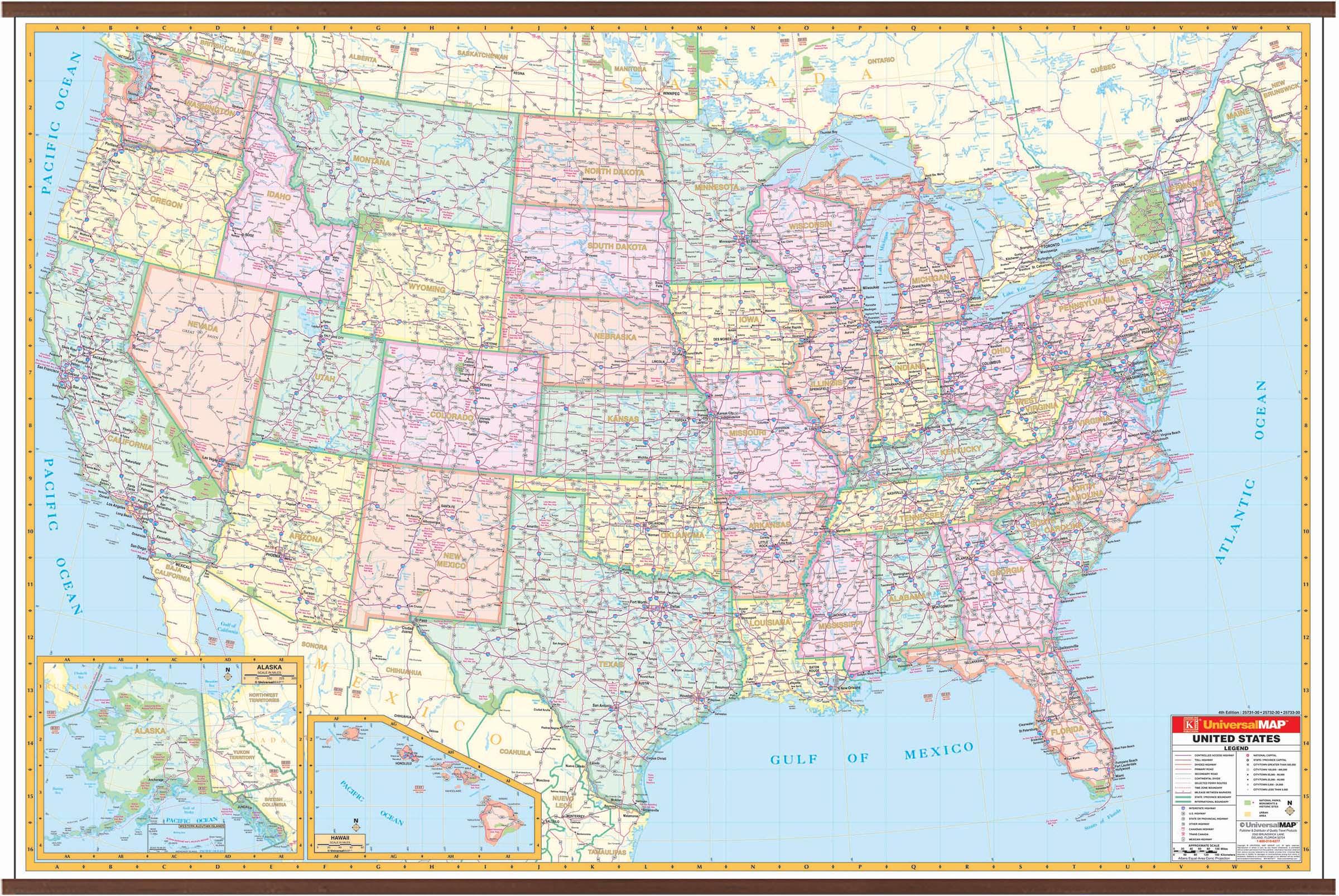 Us Interstate Wall Map Kappa Map Group