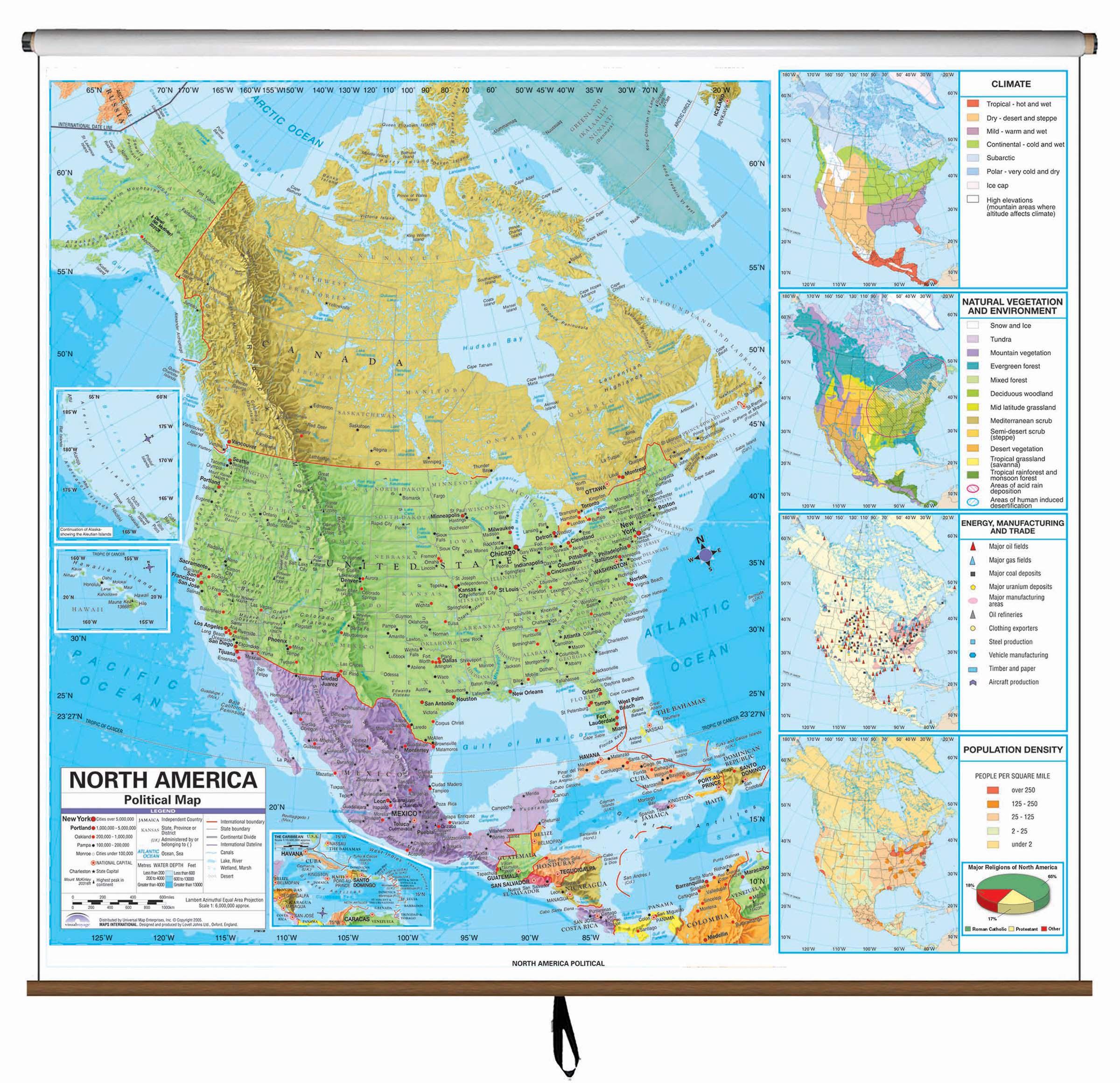 North America Advanced Political Classroom Wall Map