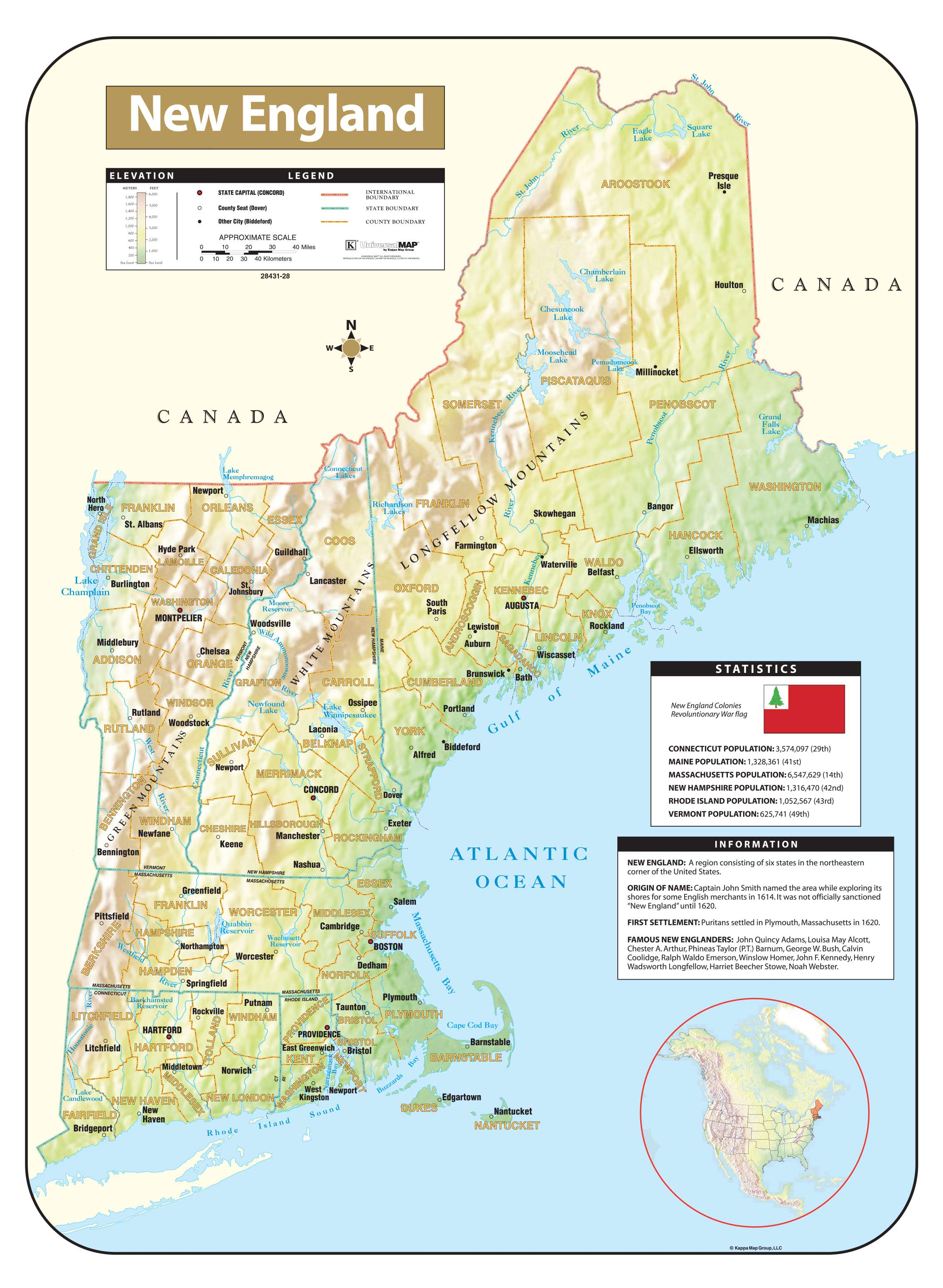 New England Shaded Relief Map Kappa Map Group