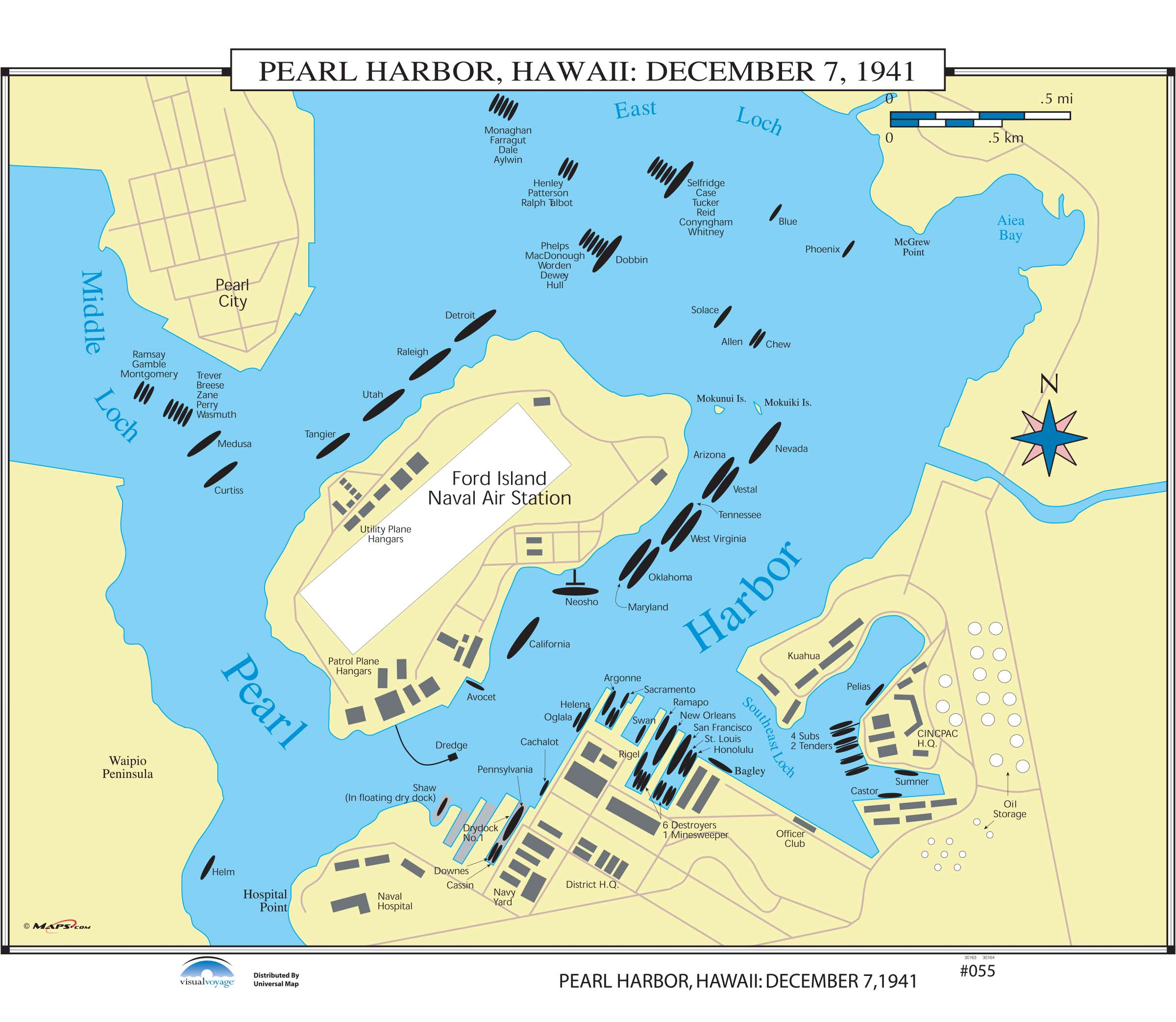 055 Pearl Harbor Hawaii December 7 Kappa Map Group