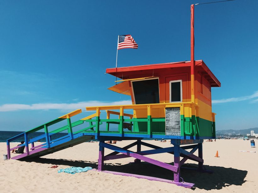 A rainbow lifeguard's hut on Venice Beach, LA