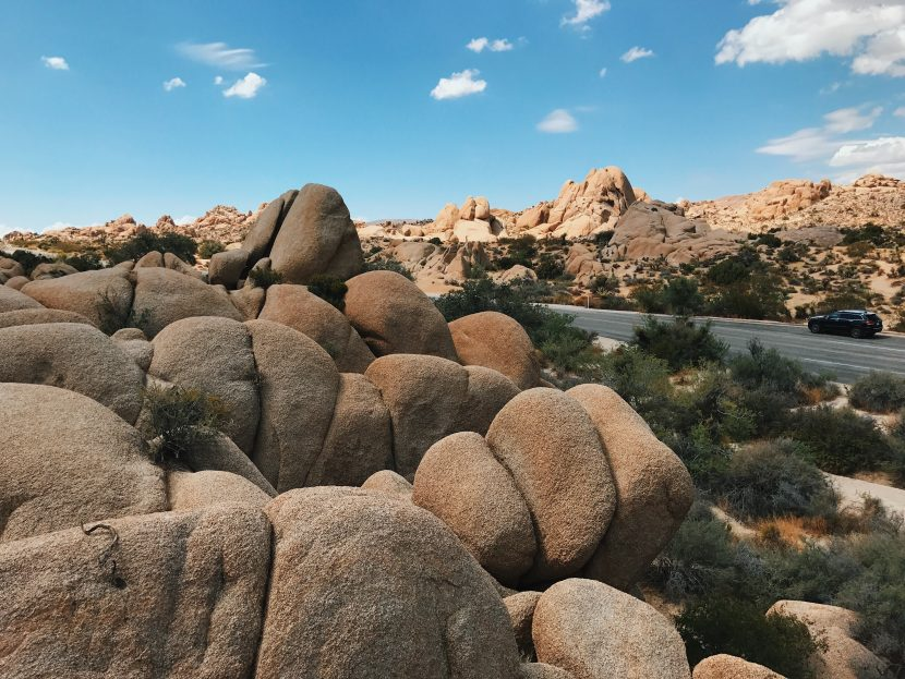 Standing in front of Skull Rock, staring at a field of boulders with a beautiful blue sky.