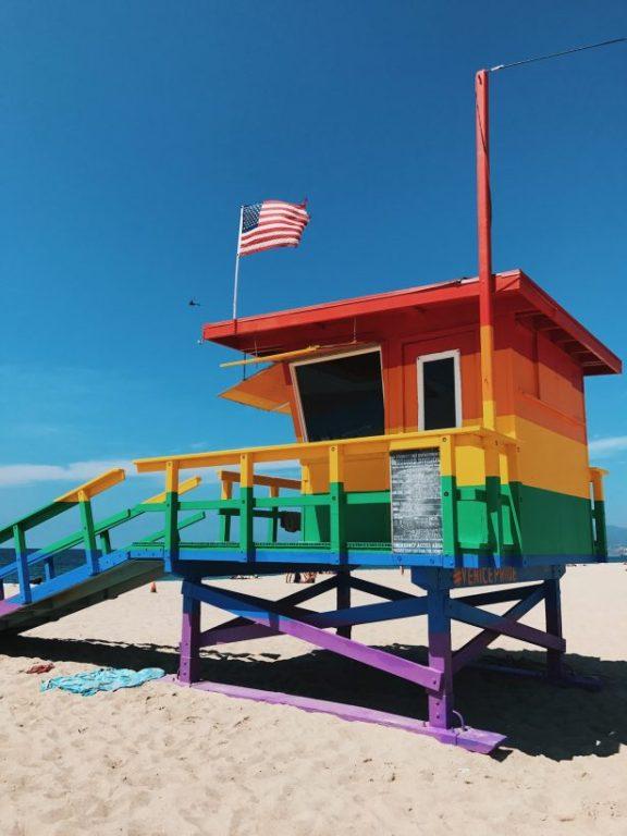 A rainbow surf hut or lifesaving hut on Venice Beach