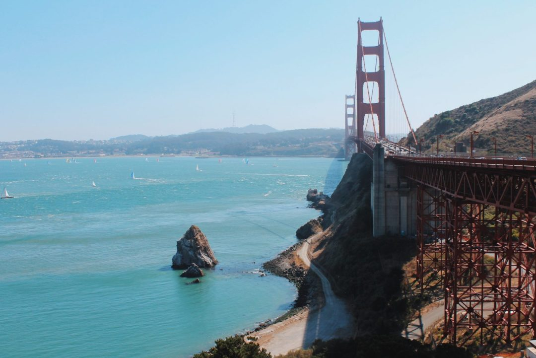 San Francisco on a clear, blue day and a clear shot of the Golden Gate Bridge.