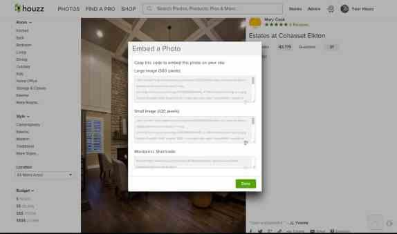 Houzz photo embedding solution : Simple, elegant, versatile yet anonymous