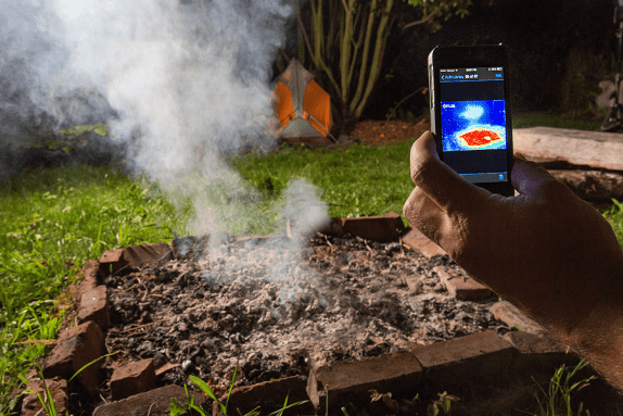 FLIR One being used to ensure campfire is extinguished ©FLIR Systems, Inc. 2016