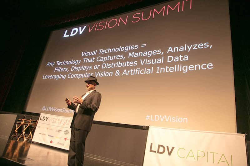Evan Nisselson opens up the 2-day summit with a clear explanation of what is visual tech. ©Robert Wright/LDV Vision Summit