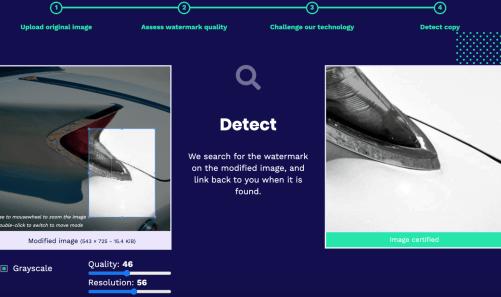 Imatag watermark technology screenshot