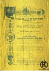 Cartel de inauguración de la Plaza de toros de Vista Alegre (15 de julio de 1908)