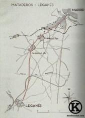 Mapa de la línea de tranvía Mataderos-Leganés