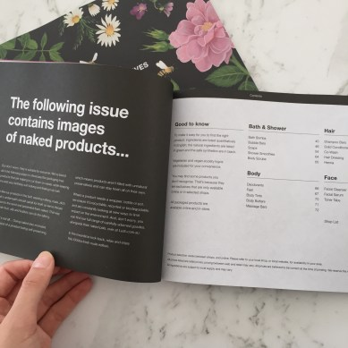 The rest of the catalogue shows the products at LUSH that are free of packaging and naked.
