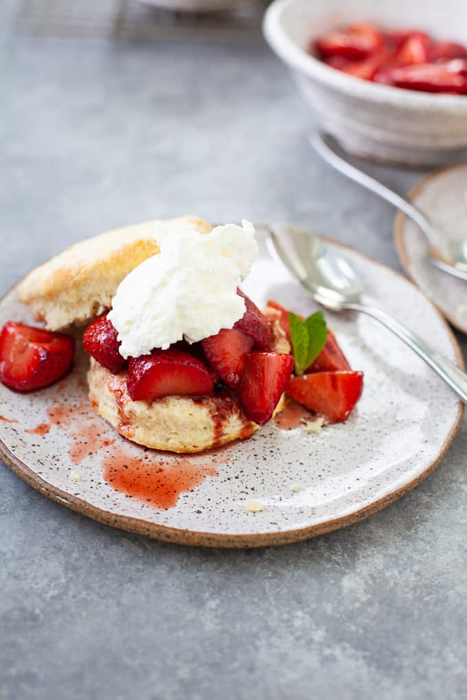 strawberry shortcake served with whipped topping