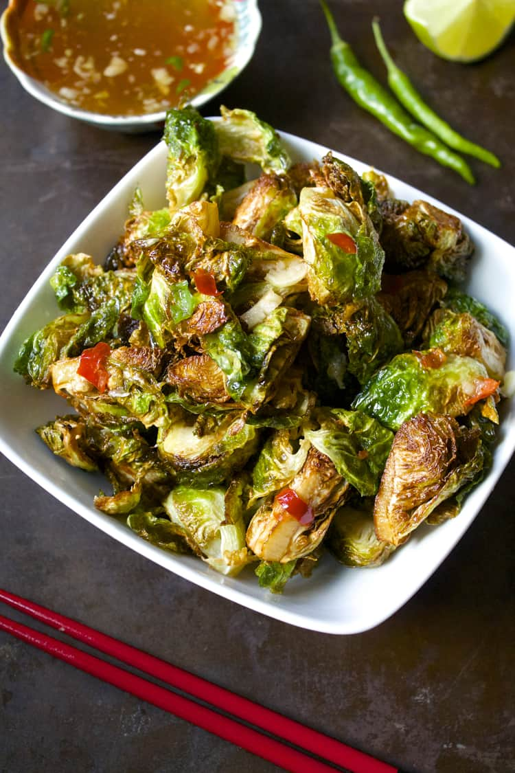Crispy Thai Brussels Sprouts with Fish Sauce | The Foodie Dietitian @karalydon