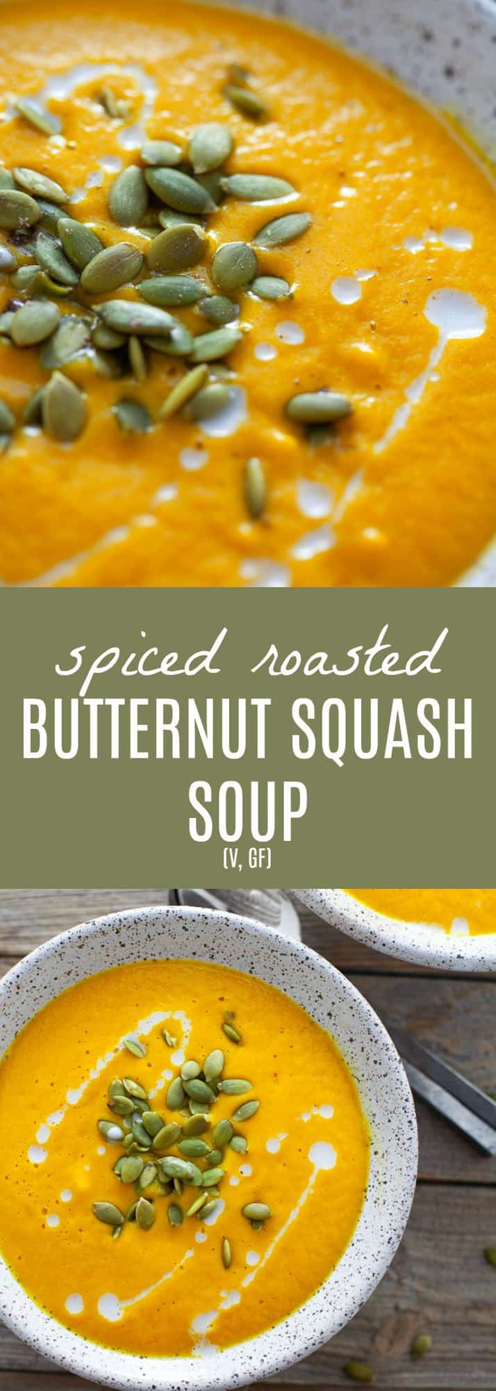 The perfect starter for the holidays, this vegan spiced roasted butternut squash soup is super creamy and has a hint of warming spice from cardamom. Easy to make in a high-speed blender or on the stove-top! #butternutsqaush #vegan #soup