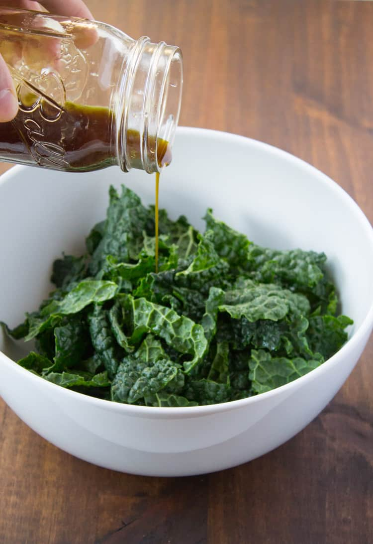 Fall Kale Salad with Pumpkin Seed Oil | The Foodie Dietitian @karalydon