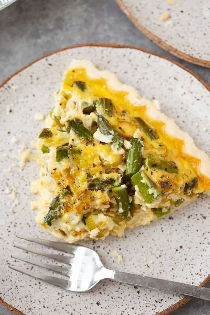 slice of quiche with asparagus and leek