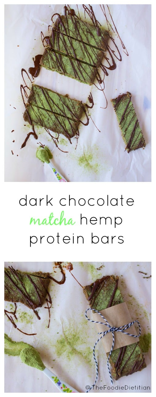The perfect homemade protein bar for on-the-go! A nutrition-packed snack, dark chocolate matcha hemp protein bars are made with real ingredients and loaded with antioxidants, fiber, and protein. | @TheFoodieDietitian