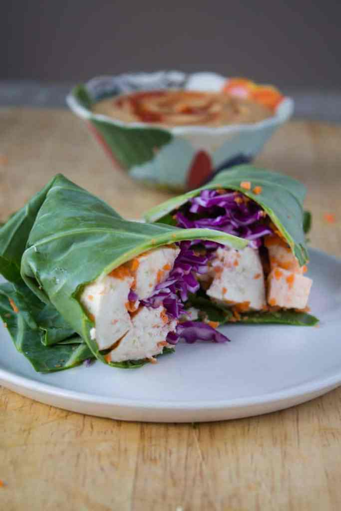 Collard Green Wraps with Thai Peanut Sauce | @TheFoodieDietitian