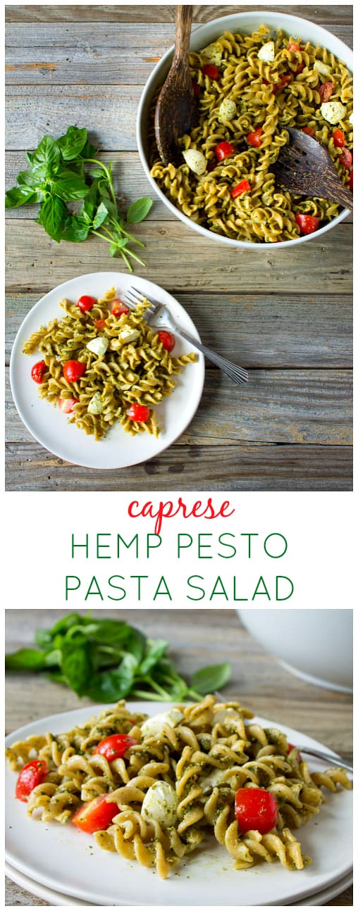 Look no further for a delicious healthier pasta salad - this caprese pasta salad with hemp pesto is packed with fiber, protein and omega-3s! | karalydon.com