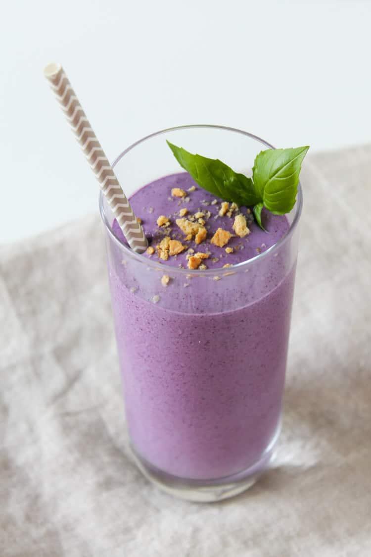 Wild Blueberry Basil Cheesecake Smoothie