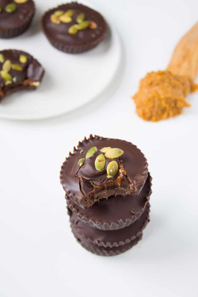 Dark Chocolate Pumpkin Almond Butter Cups for Halloween