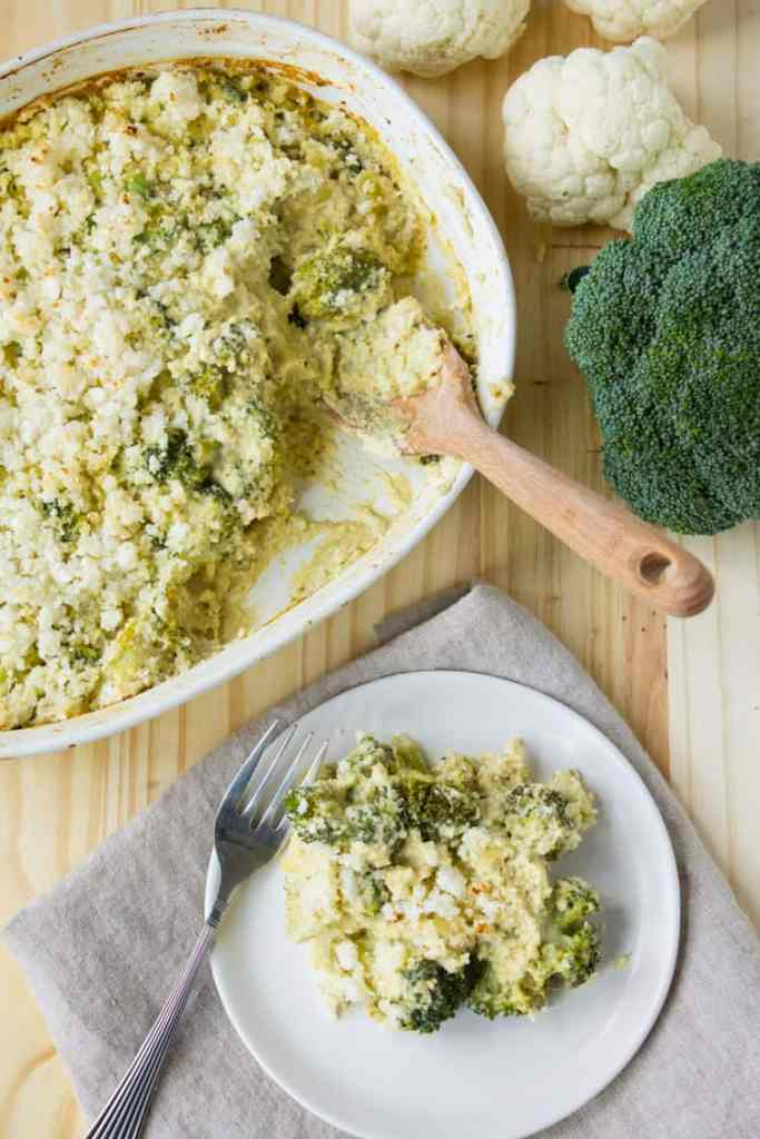 Vegan Broccoli and Cauliflower Rice Casserole