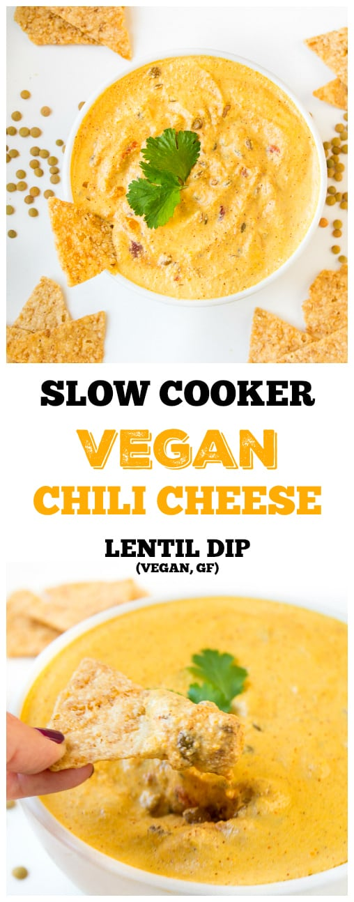 The perfect plant-based snack for Super Bowl Sunday - this Slow Cooker Vegan Chili Cheese Lentil Dip is full of spicy chili flavor and a delicious and satisfying meaty texture.