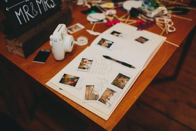 DIY photo booth rustic wedding guest book
