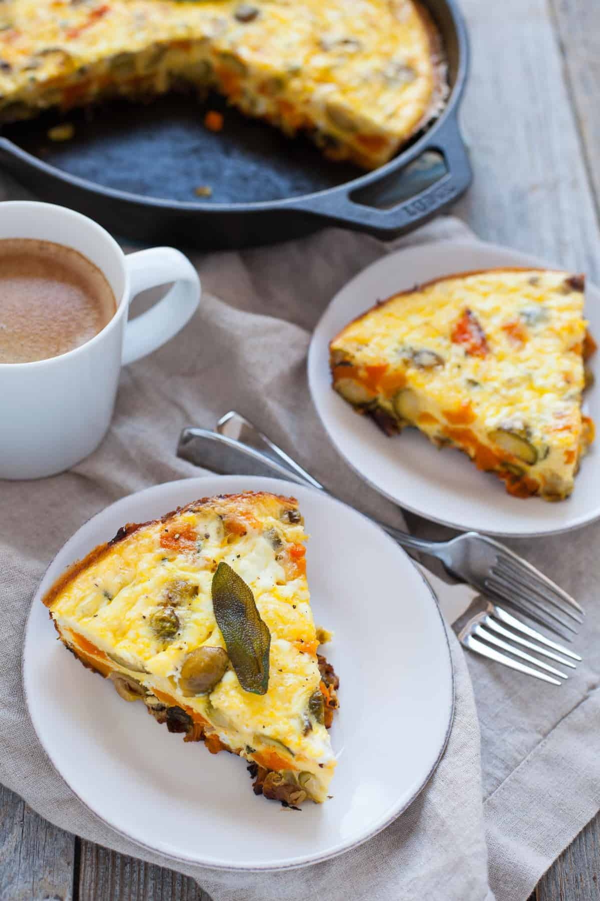Searching for a post-holiday dish that will use up all your leftovers? Enter the Thanksgiving Breakfast frittata, packed with butternut squash, Brussels sprouts and sage. Perfect for the morning after Thanksgiving!