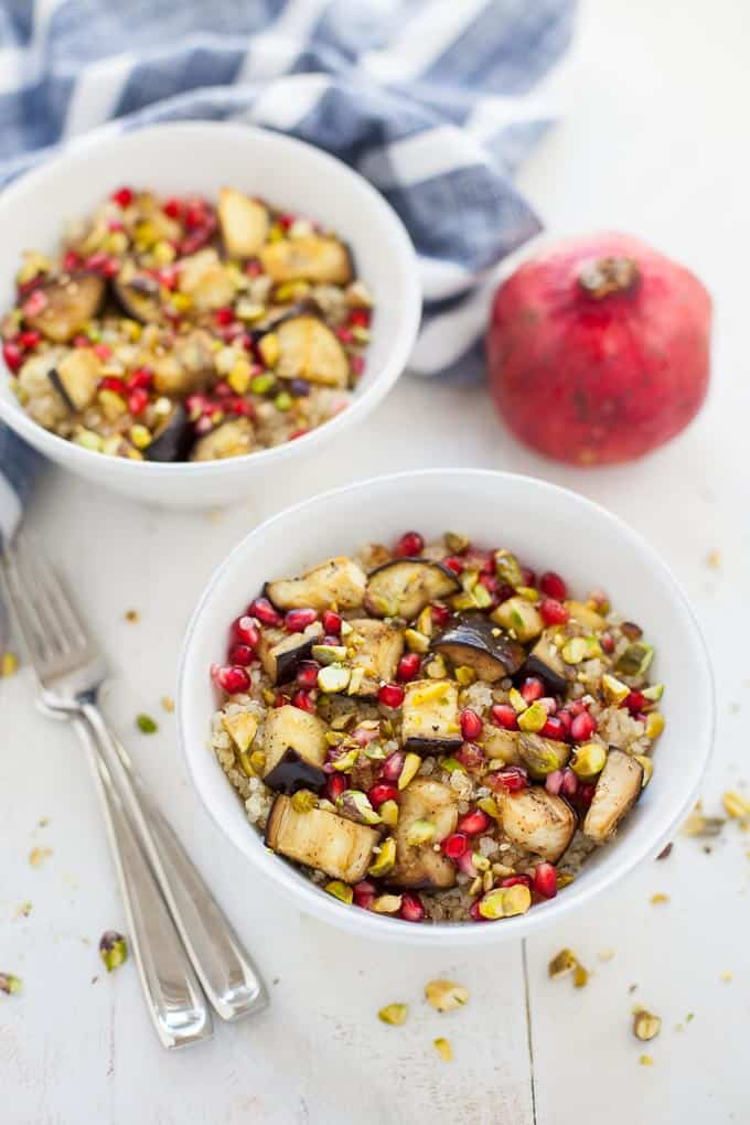 middle eastern quinoa salad with eggplant and pomegranate