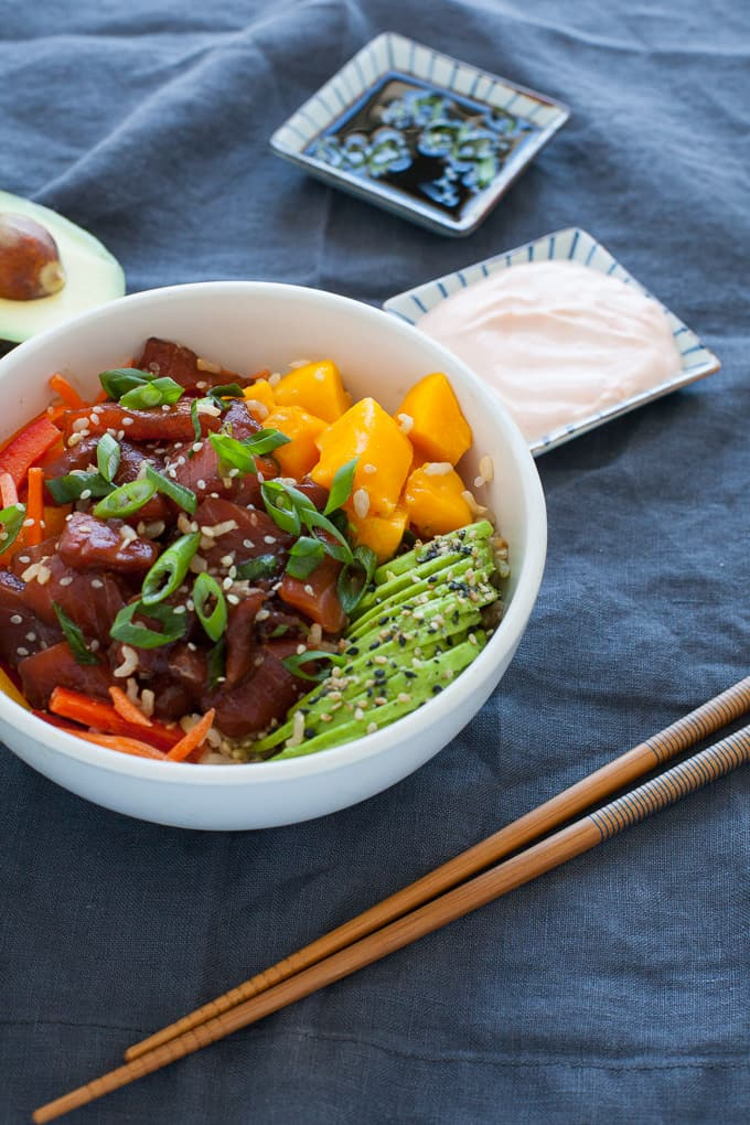 Salmon and Avocado Poke Bowl