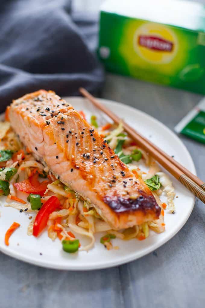 Asian Slaw and Marinated Salmon