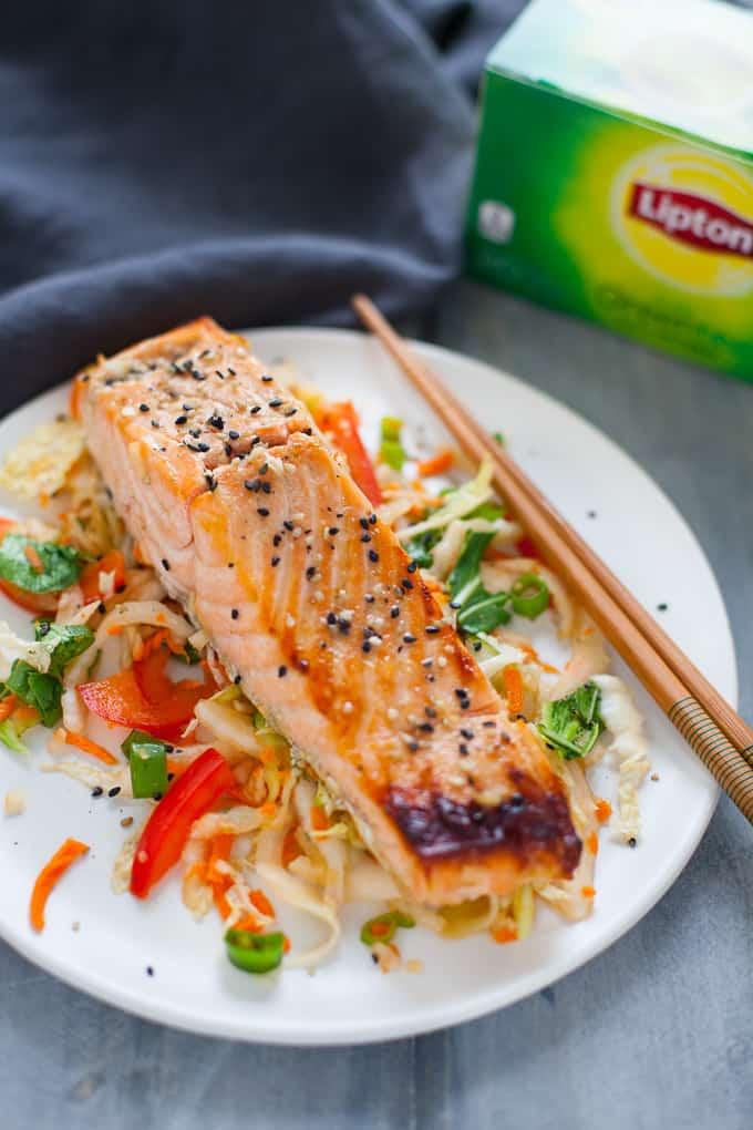 Green Tea Marinated Salmon with Asian Slaw