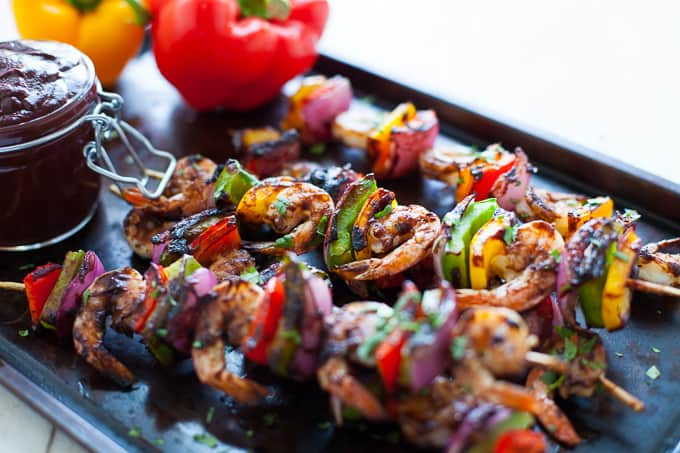 Shrimp and Veggie Kabobs with Wild Blueberry BBQ Sauce