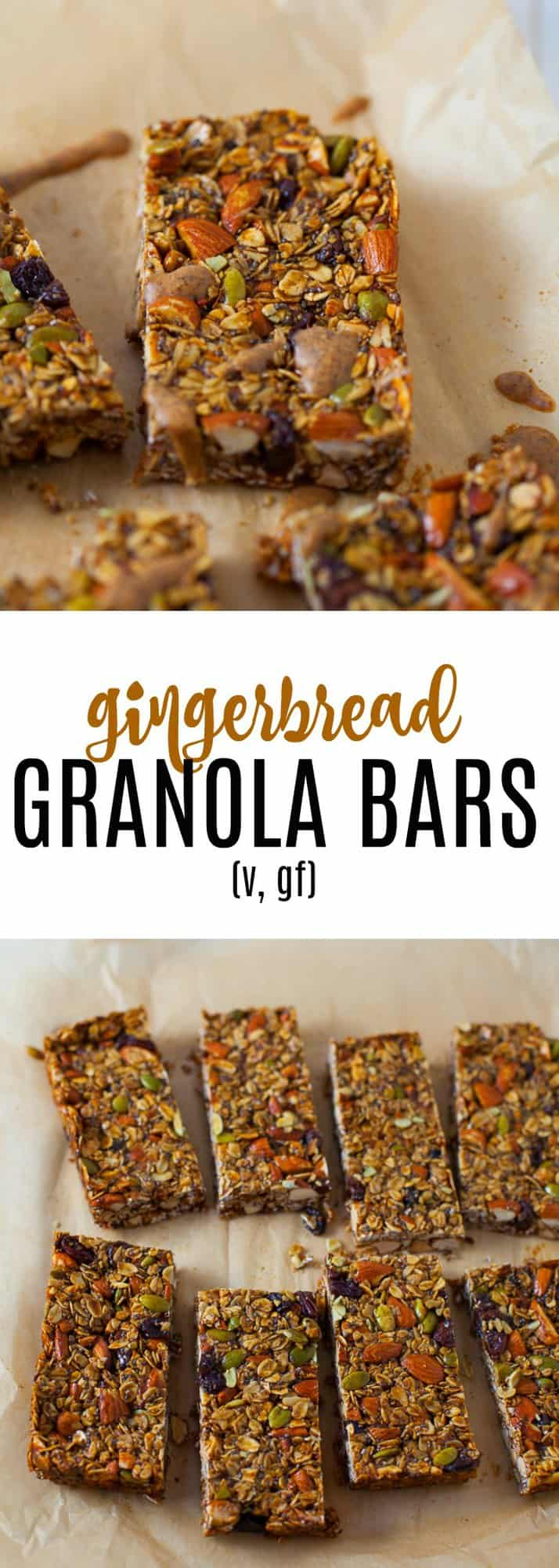 The perfect holiday snack to nosh on this season, these homemade gingerbread granola bars are full of holiday spice and nourishing ingredients that are sure to satisfy!