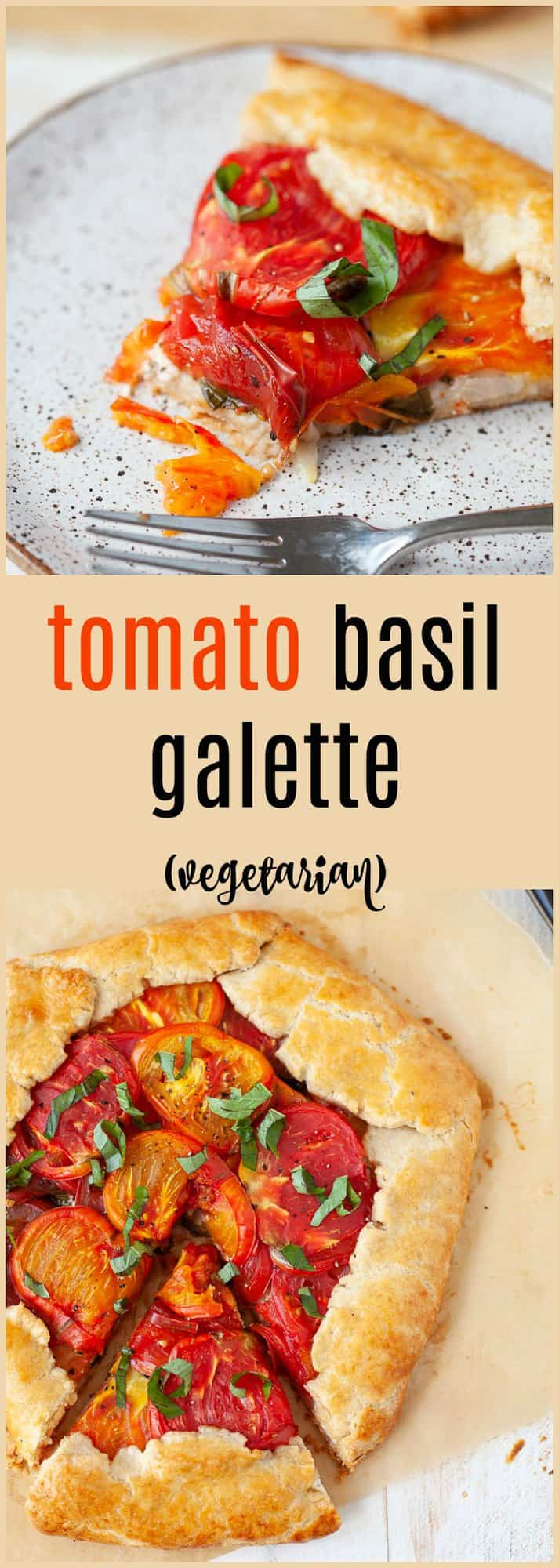 Easy, delicious and perfectly savory, this heirloom tomato basil galette with goat cheese is basically a fancier version of pizza. Pie for dinner? Need I say more?