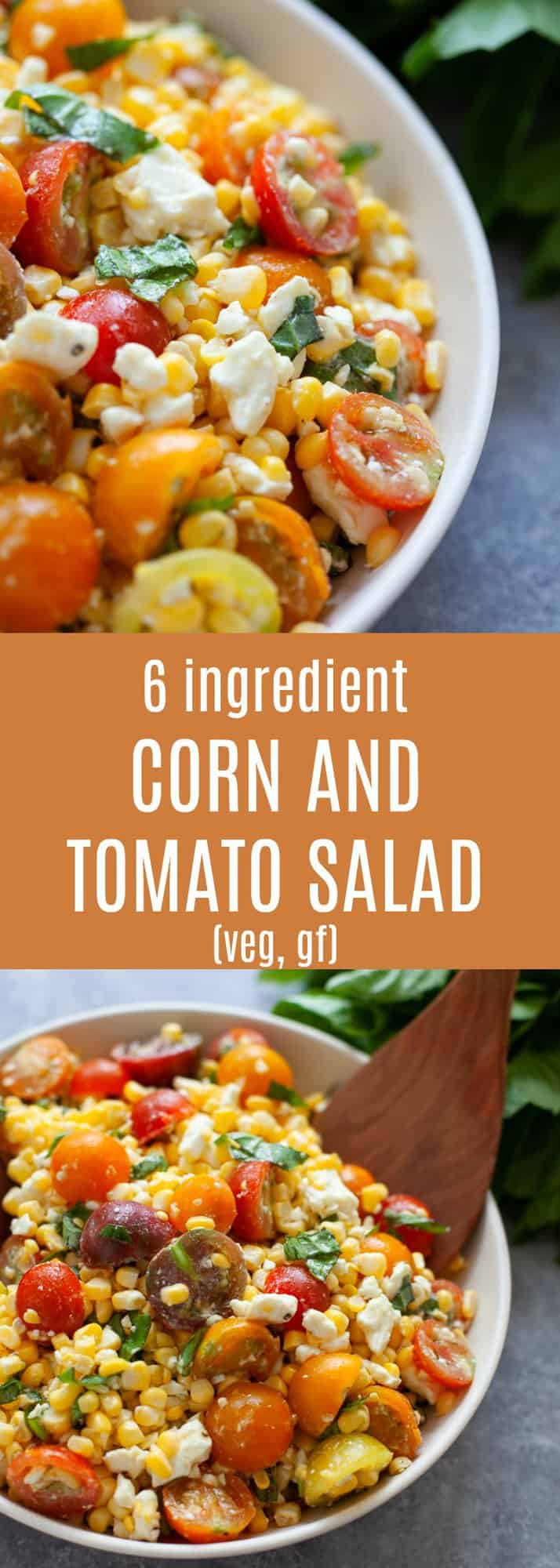 A refreshing and satisfying salad that only calls for a handful of ingredients, this 6 ingredient corn and tomato salad is the perfect side dish for summer.
