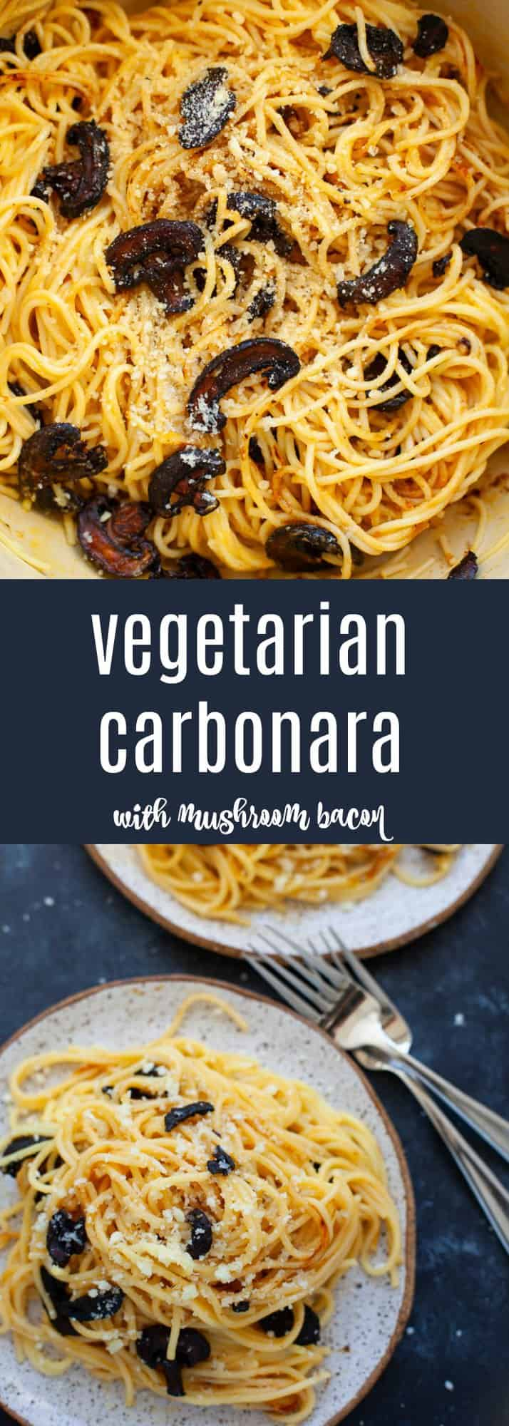 Cheesy, eggy, carby goodness, this vegetarian carbonara with mushroom bacon was inspired by my recent trip to Italy! #vegetarian #italian #pasta #carbonara