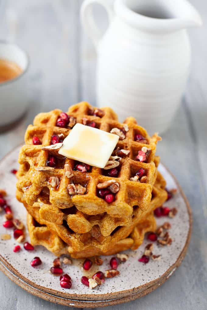 A festive holiday breakfast or brunch dish, these dairy free whole wheat butternut squash waffles are light, fluffy, and deliciously sweet. #dairyfree #waffles #wholewheat #butternutsquash
