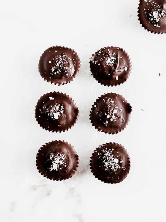 six dark chocolate treats with tahini