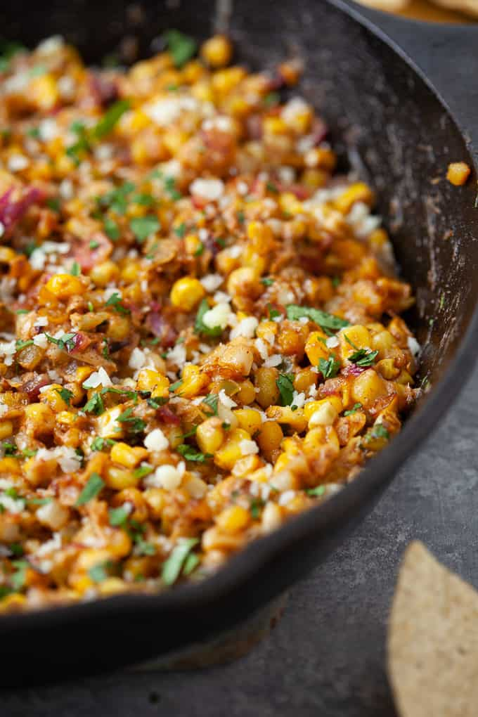 Mexican street corn dip in a skillet