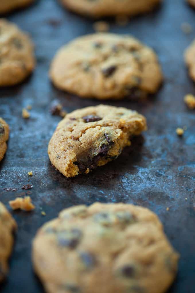 pumpkin chocolate chip cookie on baking sheet