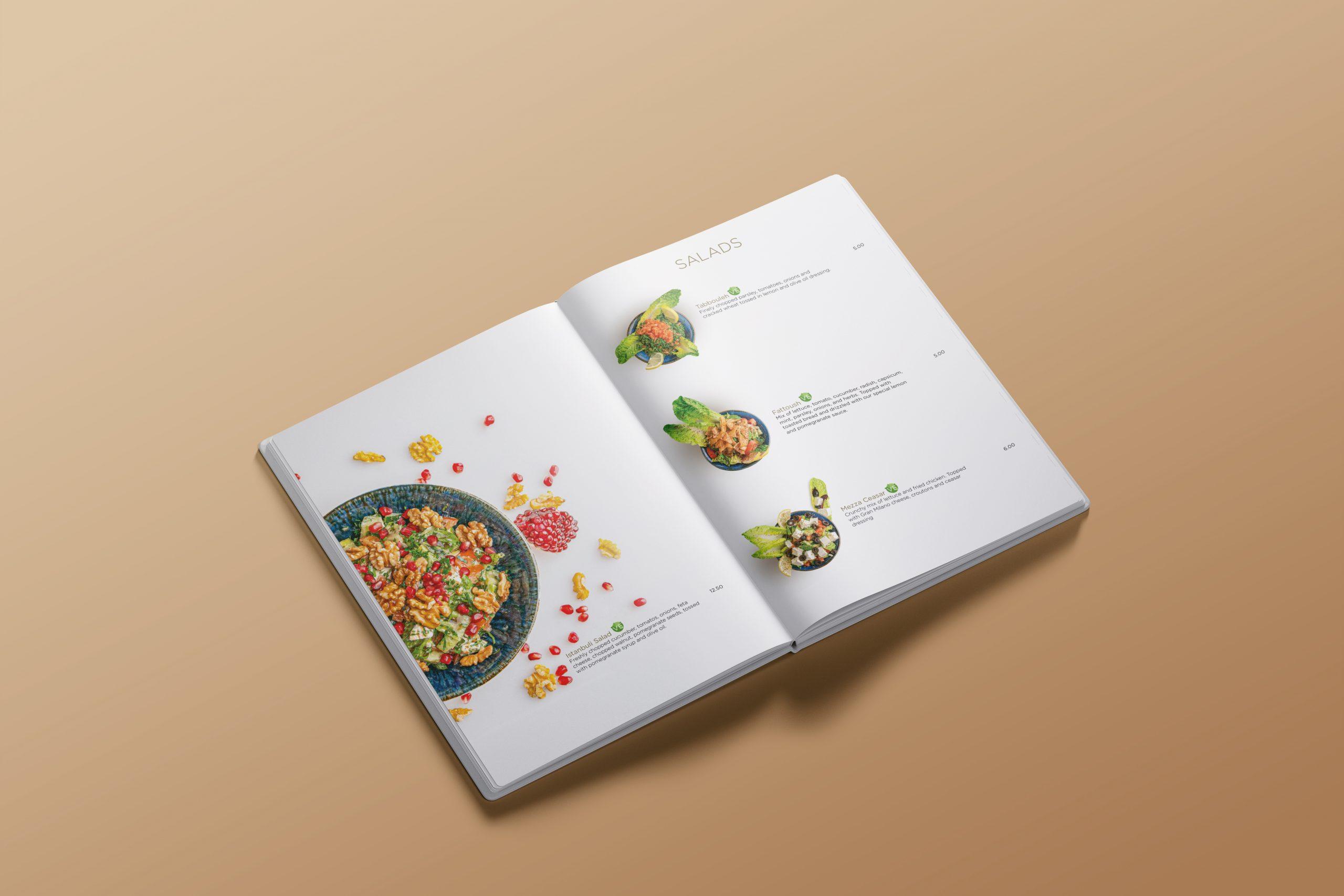 Mezza menu inside