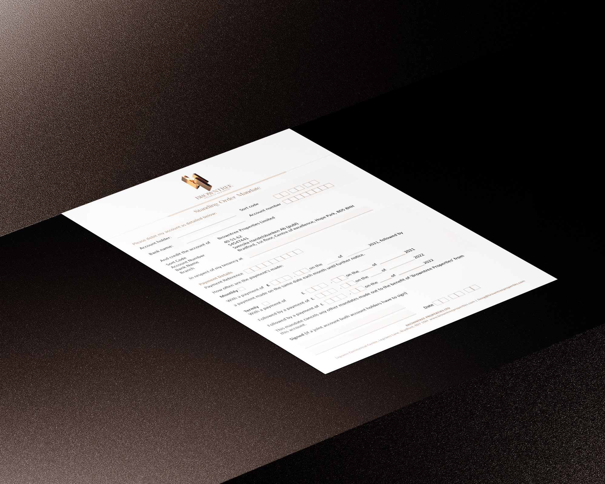 Stationery design for Browntree Properties lettings
