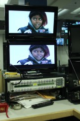 Assignment editors can call up any number of feeds on these monitors. On this night, Courtois was watching another station's early broadcast. She is also able to use the router at the bottom of the picture to look at feeds from a truck, from satellite, or cameras within the building.