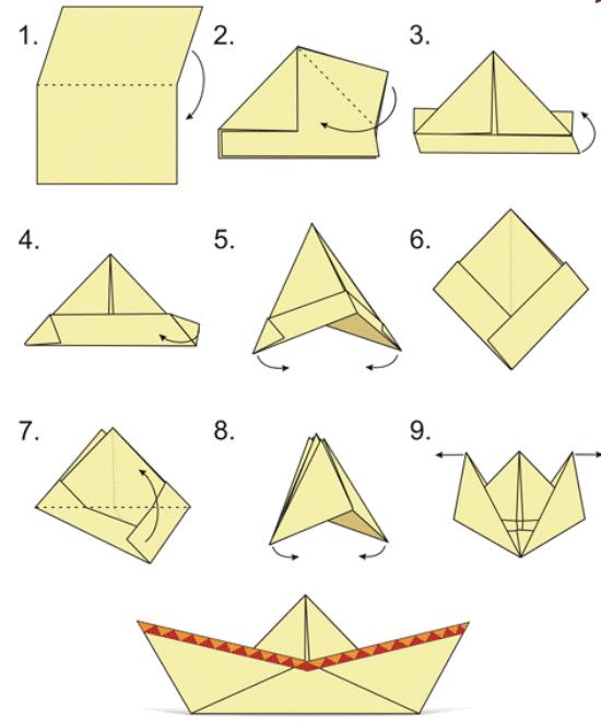 Как сделать кораблик из бумаги? Инструкция складывания бумажного кораблика своими руками этап 40