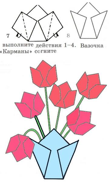 Цветы оригами для открытки поэтапно