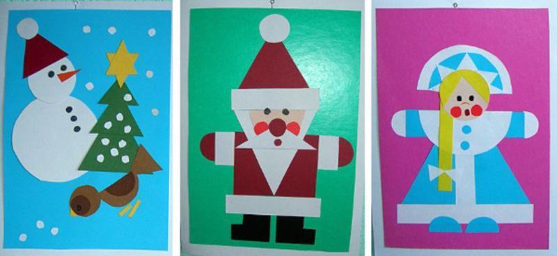 Открытки на новый год из цветной бумаги