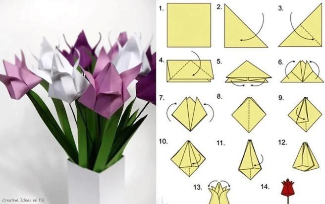 Paper Flowers & # 8212; Mga scheme at mga template para sa paglikha ng mga kulay ng papel na yugto 132.