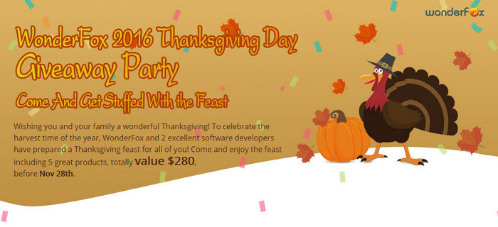 WonderFox Thanksgiving Giveaway 2016